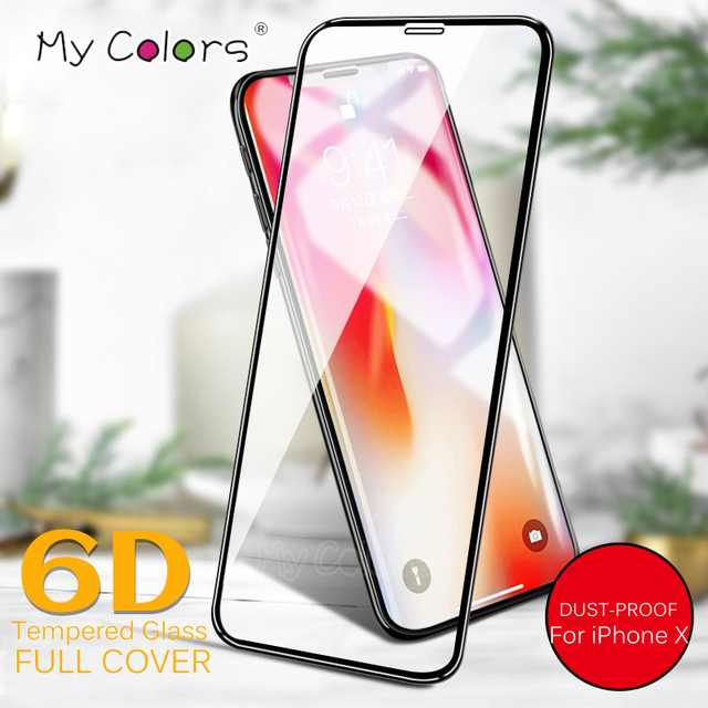 My Colors 6D Curved Edge Tempered Glass For iPhone X glass 9H Hardness Full Cover iphone X Screen Protector HD Film