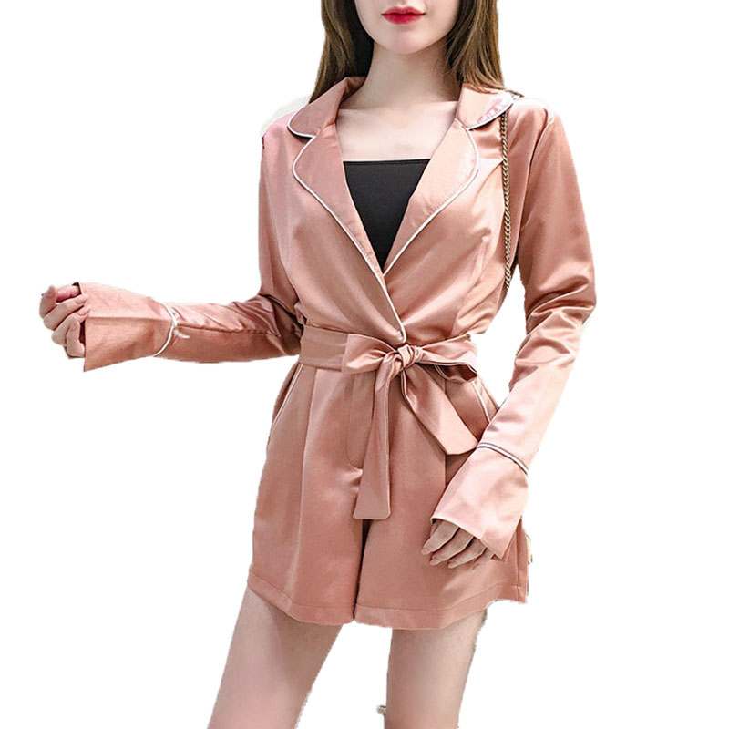 wide leg shorts jumpsuit Women Spring 2018 new Casual pants female Korean temperament suit collar long sleeves sleepwear