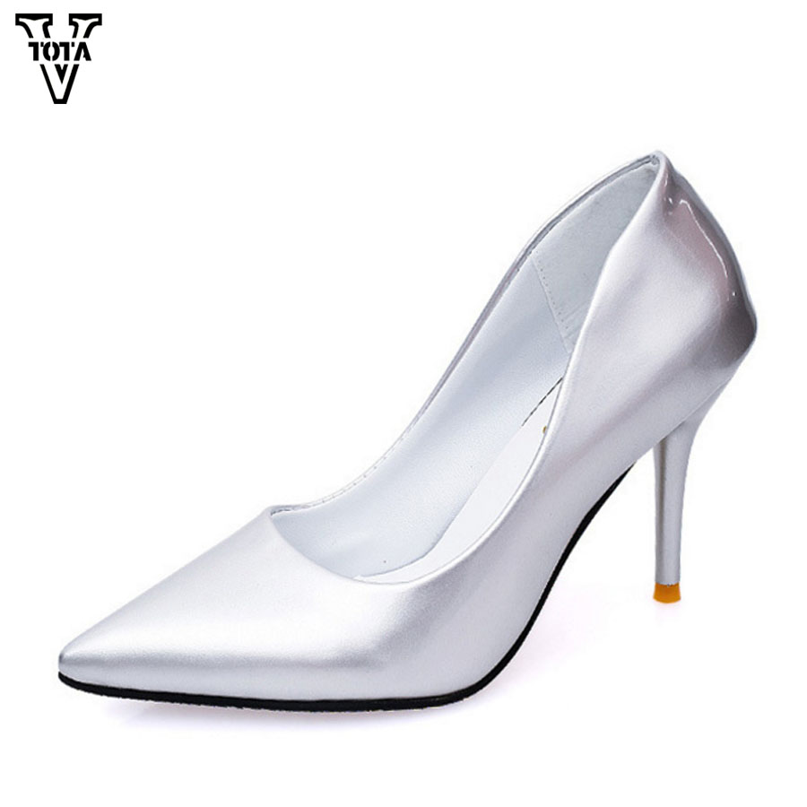 VTOTA Fashion Star Pumps Women Shoes High Heels Shoes Pointed Toe Solid Wedding Party Shoes Woman Thin Heels Slip On Shoes LS 2017 shoes women med heels tassel slip on women pumps solid round toe high quality loafers preppy style lady casual shoes 17
