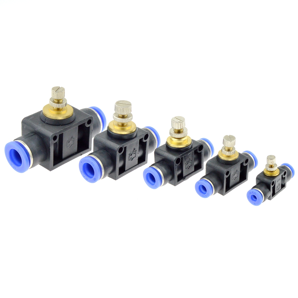 Pneumatic Airflow Regulator 4mm 6mm 8mm 10mm 12mm OD Hose Tube Gas Flow Adjust Valve Connector Fitting Air Speed Controller air pneumatic straight bulkhead union 10mm 8mm 6mm 4mm 12mm od hose tube one touch push into gas connector brass quick fitting