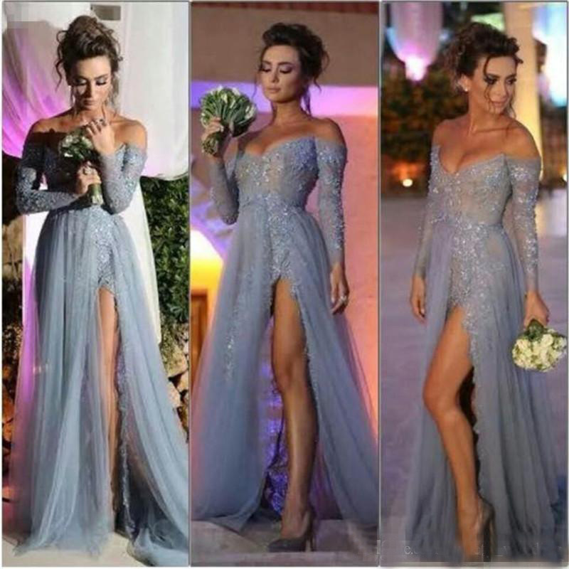 Off-Shoulder Sexy Lace   Prom     Dresses   with Long Sleeve Appliques Sequined Sparkle Evening Gowns Side Split Grey Formal   Dresses