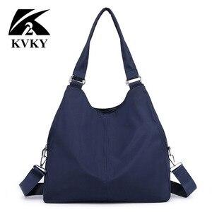 Image 2 - Популярная женская сумка, повседневная большая сумка на плечо, нейлоновая сумка тоут от известного бренда, фиолетовые сумки для мам, водонепроницаемые сумки черного цвета