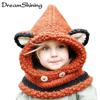 Fashion Korean Winter Warm Neck Wrap Fox Scarf Caps Cute Children Wool Knitted Hats Baby Girls