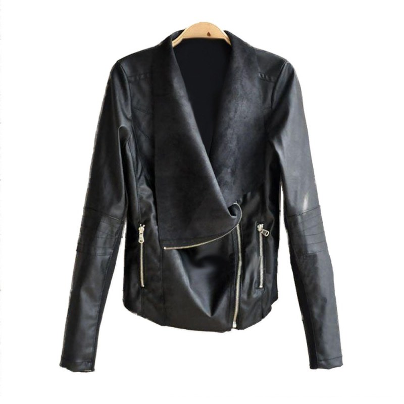 Faux   Leather   Jacket Coats Women Autumn Winter PU Black White Apricot High Fashion Street Outerwear Sexy Bomber Motorcycle PU