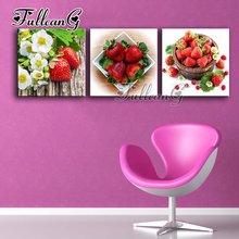 FULLCANG triptych 5d mosaic embroidery strawberry & flowers diy 3pcs diamond painting cross stitch kit full square drill G1226
