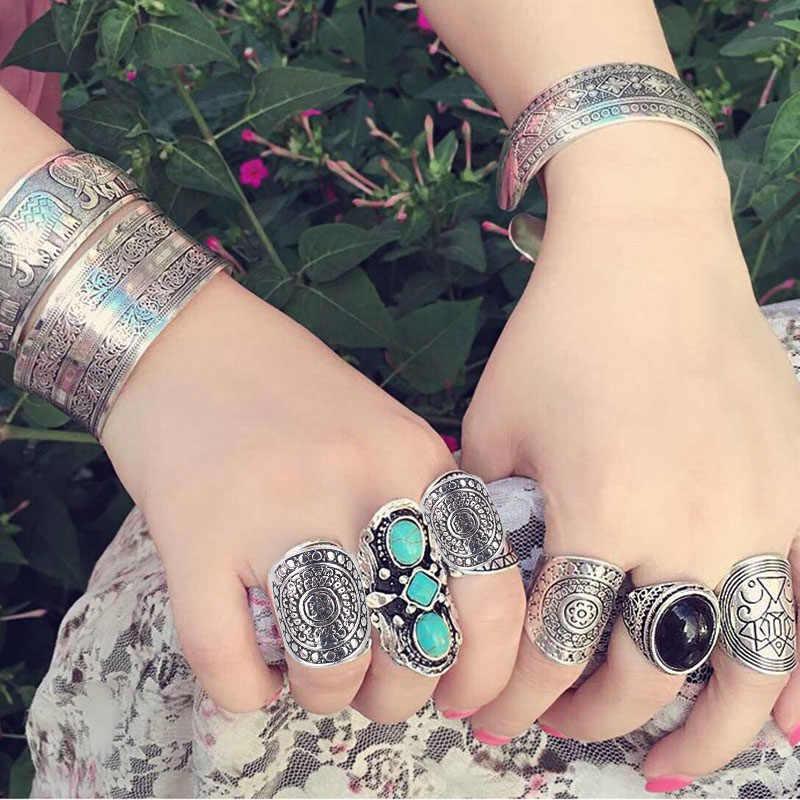 Новое винтажное корейское кольцо aneis, имитация 925 тибетского серебра, мужское кольцо в европейском стиле, хит продаж, богемные кольца для женщин R930