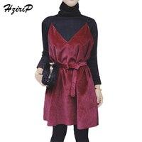 Hzirip二枚スーツドレストップスレディース秋タートルネック長袖黒ニットシャツ赤い包帯ドレス女性スーツ