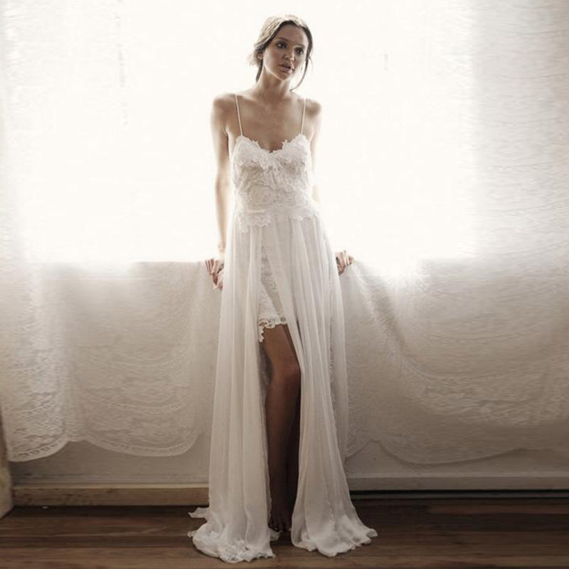LORIE Boho Wedding dress 2019 Spaghetti Strap Lace Beach Wedding Gown Chiffon Backless Cuatom Made Bridal Gown Free Shipping gown