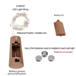 Image 5 - Corda de luzes de vinho com 20 leds, 6 peças, fio de cobre prateado, luzes para festa em casa, casamento decoração