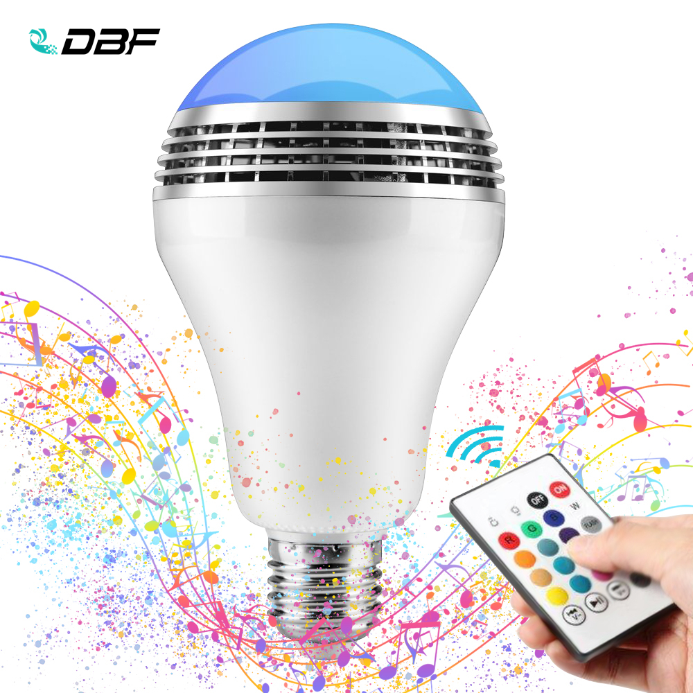 [DBF] E27 10W RGB LED Bulb Bluetooth Lighting Lamp Colorful Dimmable Speaker Music Lights Bulb With RF 24key Remote Control