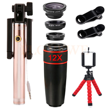 Cheap price Wide Angle Macro Fisheye lens 12X Telephoto Zoom Lenses For iPhone 7 Cell Phone Lentes Kit Telescope Selfie Stick Mobile Tripod