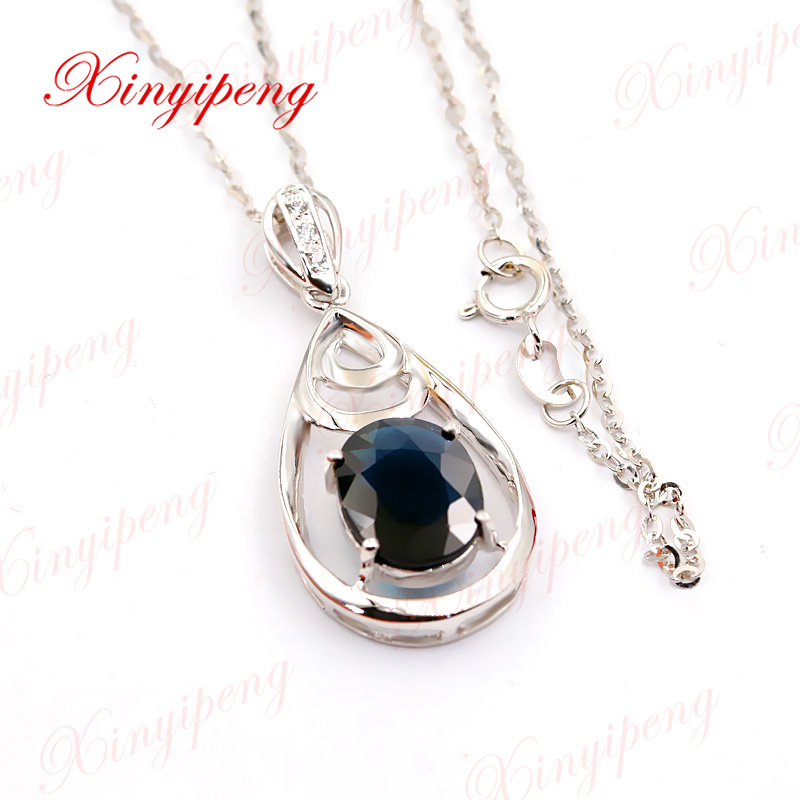 Xin yi peng 18 k white gold inlaid 3 carat natural sapphire necklace pendant, woman, simple and easy