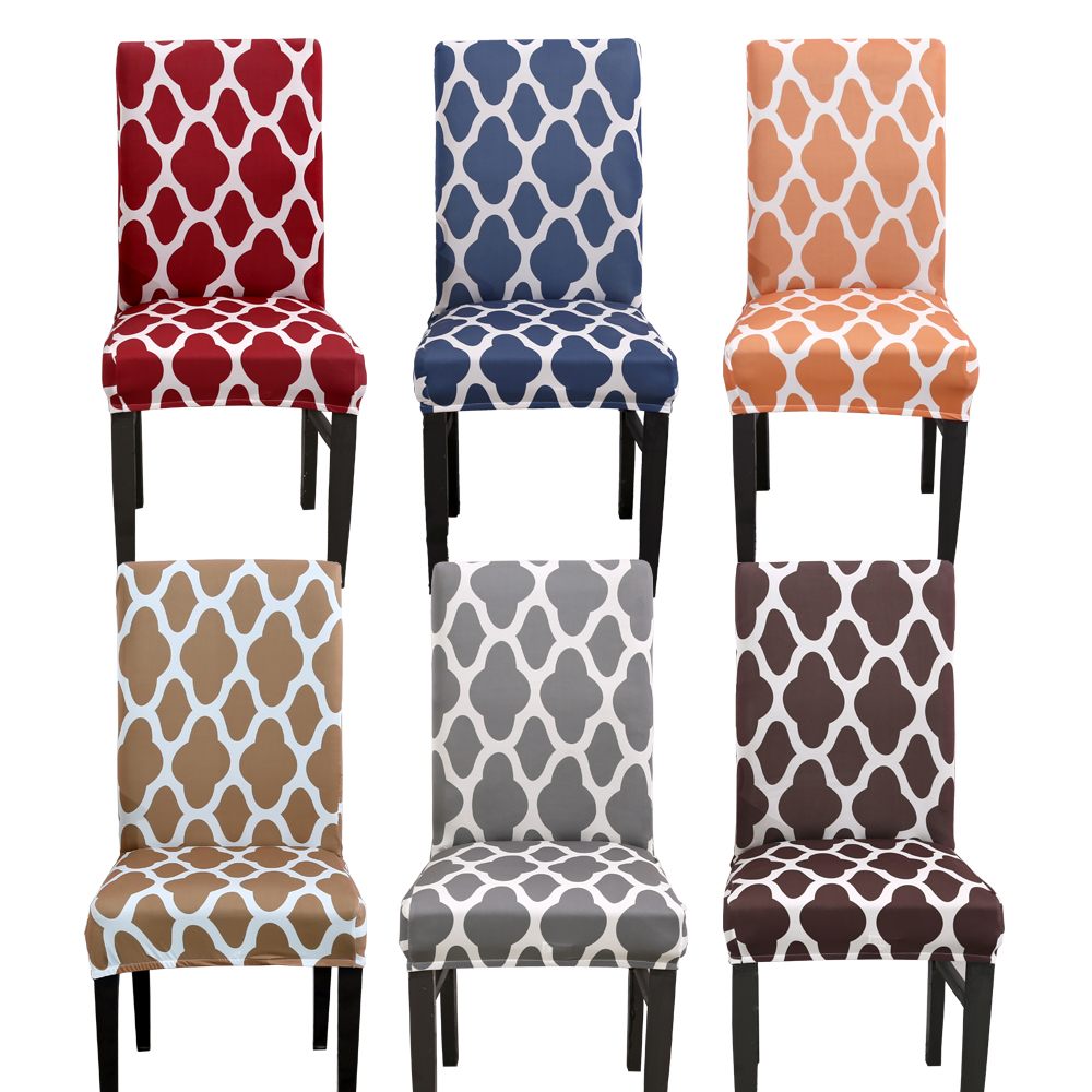 Dining Room Chair Cover Spandex Morocco Nordic Kitchen Stretch Protect Seat Cover Removable Office Geometric Chair Seat Case