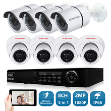 SunChan 8CH CCTV System 1080P HDMI AHD 8CH DVR 8PCS 2.0 MP SONY IR Outdoor Security Camera 3000TVL Camera Surveillance System