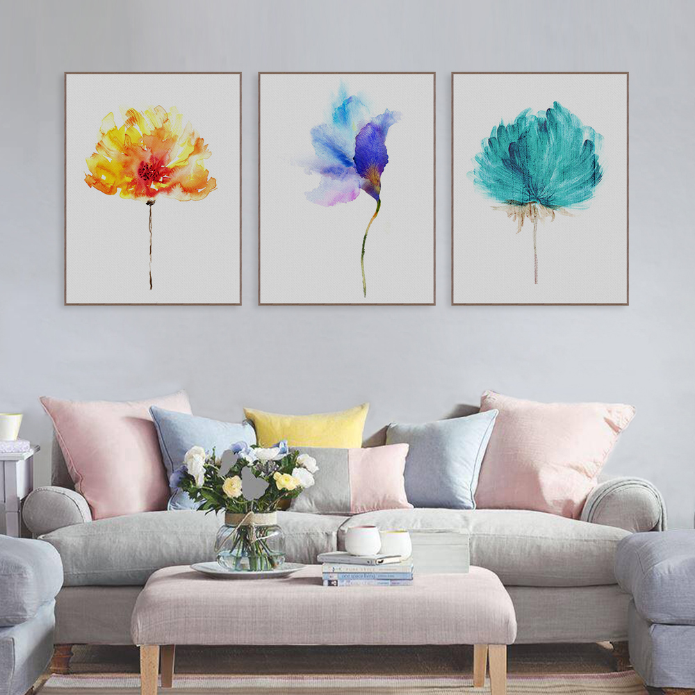 Modern Watercolor Beautiful Colorful Flower Rose Canvas A4 Art Print Poster Nordic Wall Picture Home Decor Painting No Frame(China)