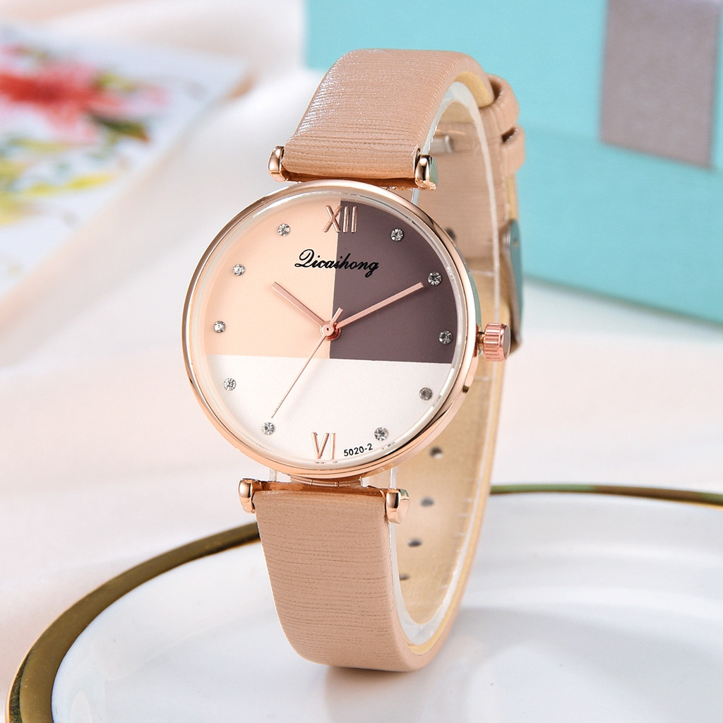 Licaihong Fashion Simple Women Watch Three Color Flat Dial Belt Leather Strap Quartz Female Clock Wrist Watches Montre Femme