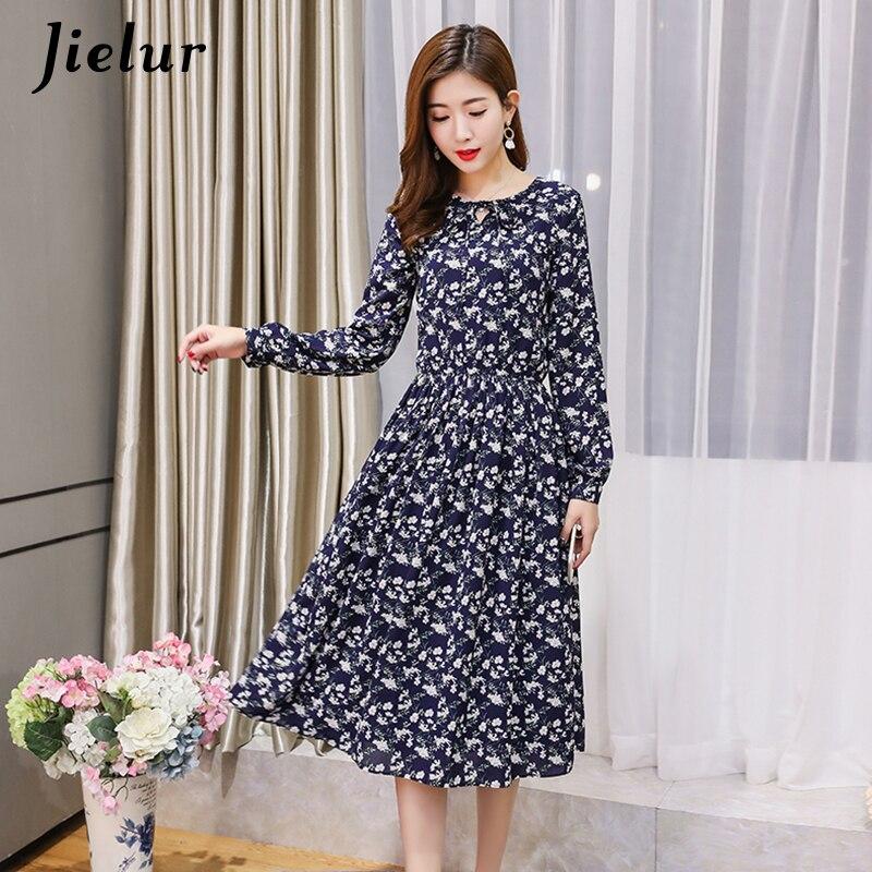 5166196e9cd6 Jielur Korean Style Autumn Floral Print Chiffon Dress Women Casual Elegant  Ladies Dresses Lace-up