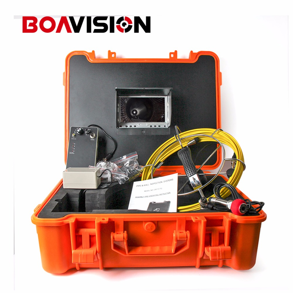 40m Fiber Glass Cable Waterproof Industrial Sewer Pipe Inspection Underwater Camera 12Pcs Leds with 7 LCD Portable Plastic Case 20m cable fiber glass 7 tft lcd waterproof pipe sewer inspection camera ccd600tvl with meter accounter endoscope snake camera