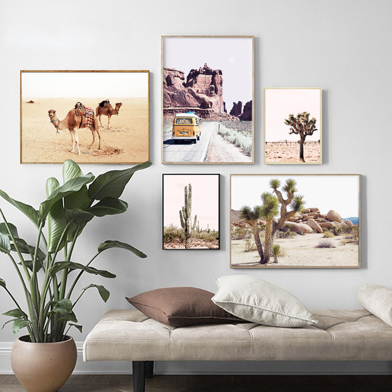 Tropical Animal Plant Landscape Poster Print Cactus Camel Nature Canvas Painting Living Room Decorative Picture Home Decor