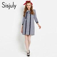Sisjuly Vintage Dress 1960s Spring Women A Line Plaid Patchwork Lace Blue Dress Casual Dress Elegant