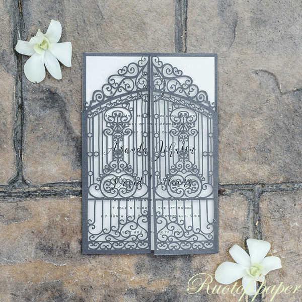 Black Color Gate Designs Laser Cutting Wedding Invitations