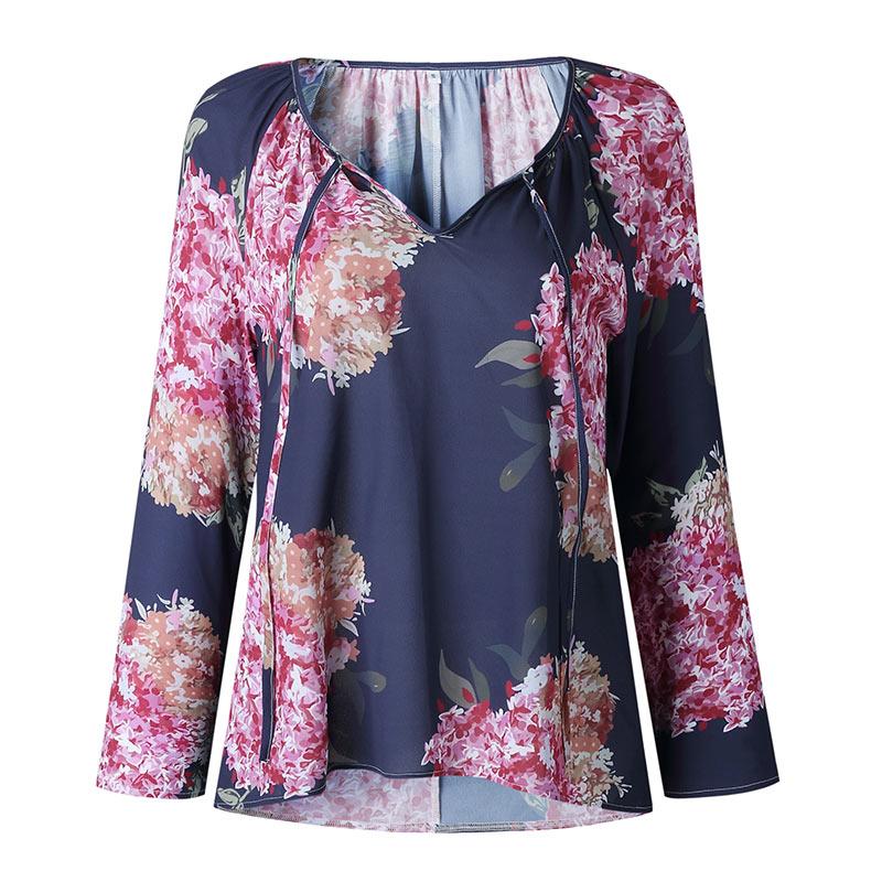 Autumn Casual Shirt Women Clothes Streetwear Fashion Print Drawstring V-Neck Long Sleeve Sexy Ladies Tops Vetement Femme 2018 (9)