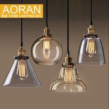 Bombilla de luz colgante de cobre de cristal restaurante luz colgante colgante de una sola luz de la vendimia americana lámpara de pared retráctil