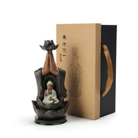 T Ceramic Backflow Incense Burner with Gift Box Buddha Guanyin Incense Holders Home Decor Teahouse Buddhism Decoration Zen