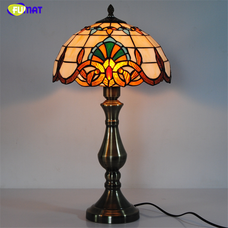 FUMAT Baroque Table Lamps Tiffany Stained Glass Table Light For Bed Room Living Room LED European Style Home Decor Table Lights