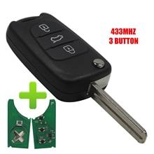 цена на 3 Button Flip Remote Car Complete Key 433MHZ ID46 Chip For Kia Rio 3 Picanto Ceed Cerato Sportage K2 K3 K5 Soul Hyundai i30 ix35