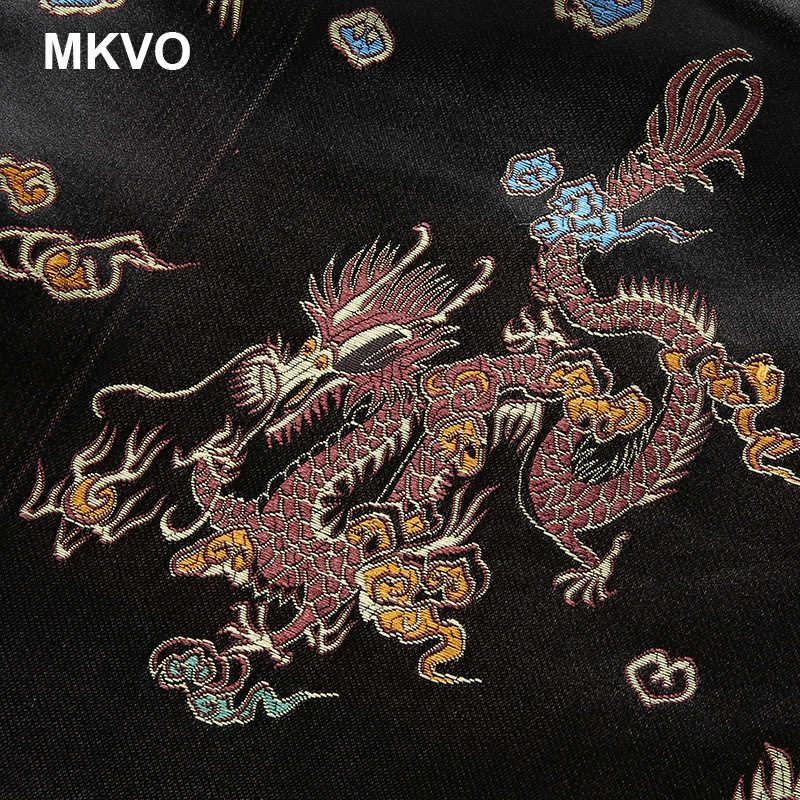 2019 nieuwe Mode Chinese stijl retro geborduurde mini rok Vijf klauwen gouden draak geborduurde sexy open rok zwarte Vrouwen's
