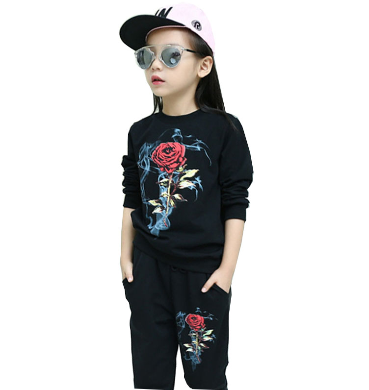 Children 's wear 2018 girls suit Spring and Autumn a flower pattern two - piece fashion children' s leisure suits rushdie s midnights children