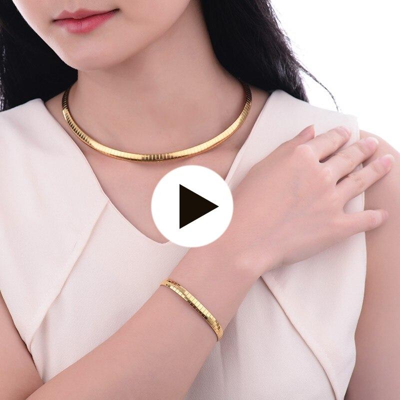 Baoyan Mode En Acier Inoxydable 316L Serpent Chaîne Or Couleur Choker Collier et Bracelet Ensembles de Bijoux Pour Femmes Bijoux Ensemble