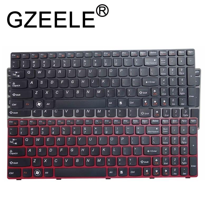 GZEELE English US Keyboard For Lenovo G580 Z580 G580A V580A Z580A G580AH G580AM G580G G585 G585A G585AR B580 G590 With Frame