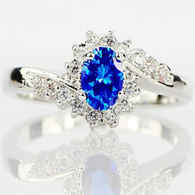 Blue Austrian Crystal Propose Rings Silver Plated Engagement Ring for Women Men Natural CZ Stone Wedding Ring anel Bride Jewelry