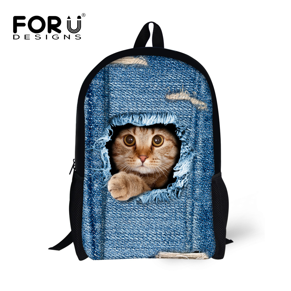 FORUDESIGNS Primary Backpack Black Demin Cat Printing Backpacks for teenage Girls Children School Bags kids Bagpack Mochila Bag