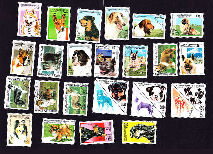 imemo 50Pcs/Lot Dog Pet All Different From Many Countries NO Repeat Unused Postage Stamps for Collecting