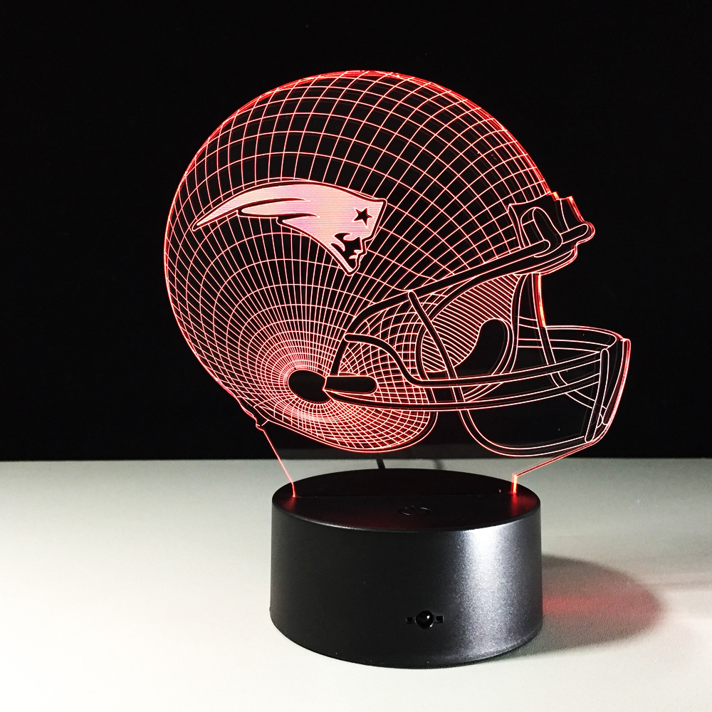 Novelty NFL England Patriots Football Helmet Illusion USB LED Night Light 7 Color Changing 3D Lamps for Kids Gift