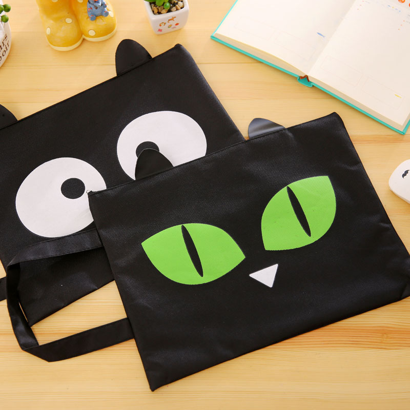 3224cm Catn Geen Black Cat Ea Zppe Ffce And Dcument Bag Fle Flde A4 Fd Fabc Clt Scl Supples In File Folder From Office School Supplies On