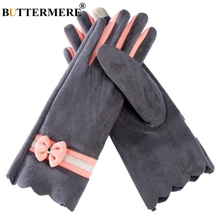BUTTERMERE Gloves Ladies Suede Warm Touch Screen Women Gloves For Driving Winter Fashion Velvet Gray Pink Female Glove With Bow nubuck glove with touch tips