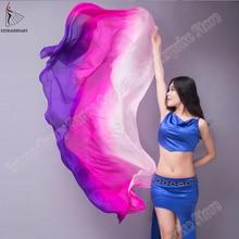 Kobiety 100% jedwabne welony taniec brzucha występ na scenie 200cm 250cm 270cm dzieci dorośli tęczowe światło jedwabne welony dostosowane 17 kolorów