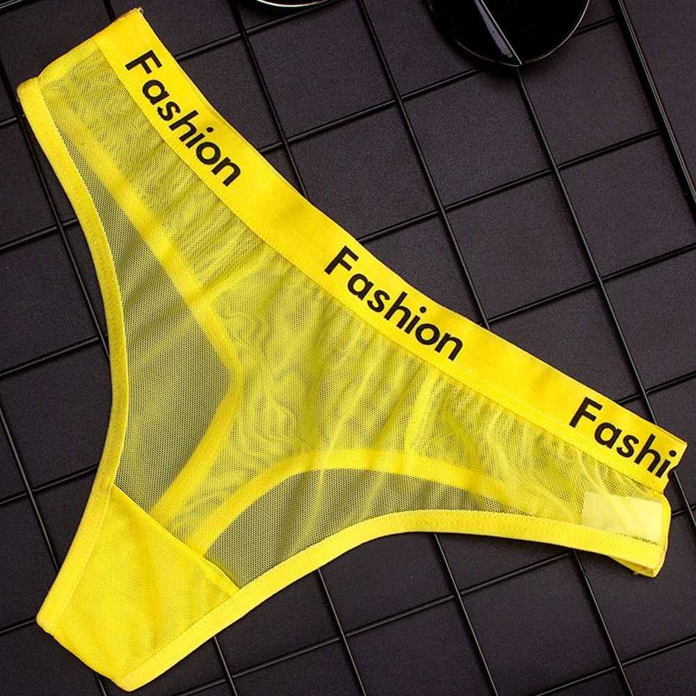 1 piezas s bragas transparentes de malla de algodón sexis de mujer con cordón de moda ropa interior sin costuras de mujer de tiro bajo