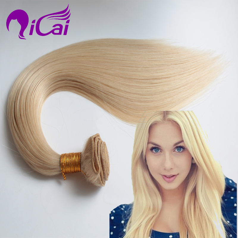#613 Bleached Blonde Hair Weaving Brazilian Virgin Remy Human Hair Extensions 1 Bundles Silk Straight 613# Blonde Hair Weave