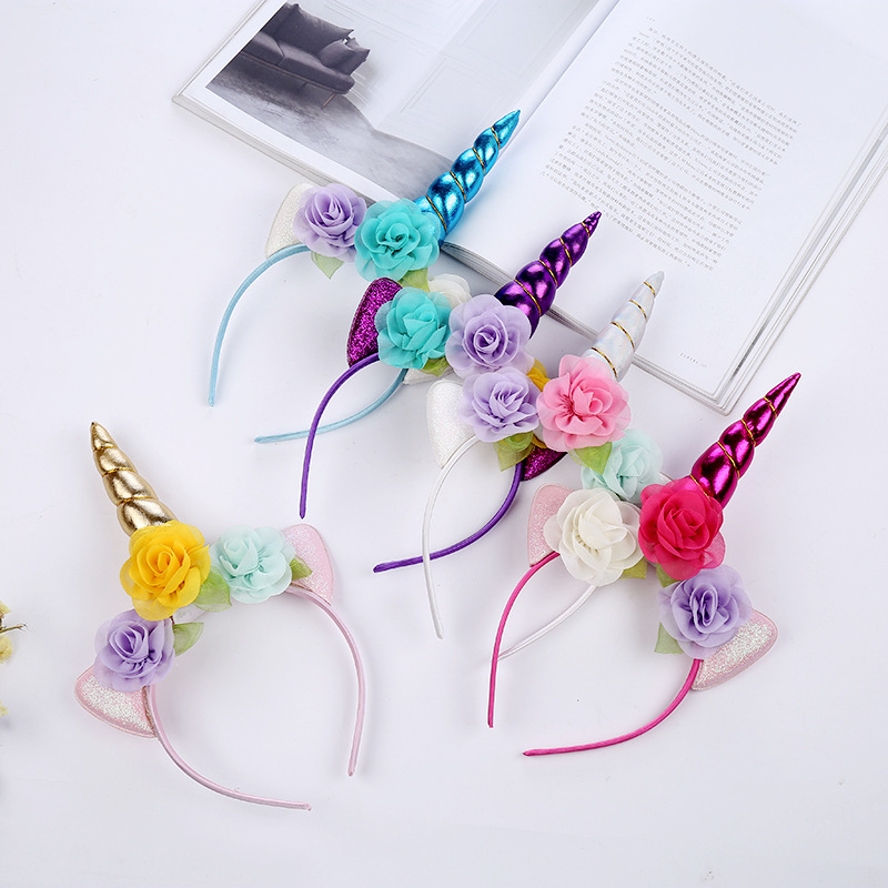Styling Tools 2019 Fashion 1pc Headband Glitter Unicorn Horn With Chiffon Flowers Hair Hoop Party Hair Styling Tool Braiders For Kids 6 Colors Choice Materials Hair Care & Styling