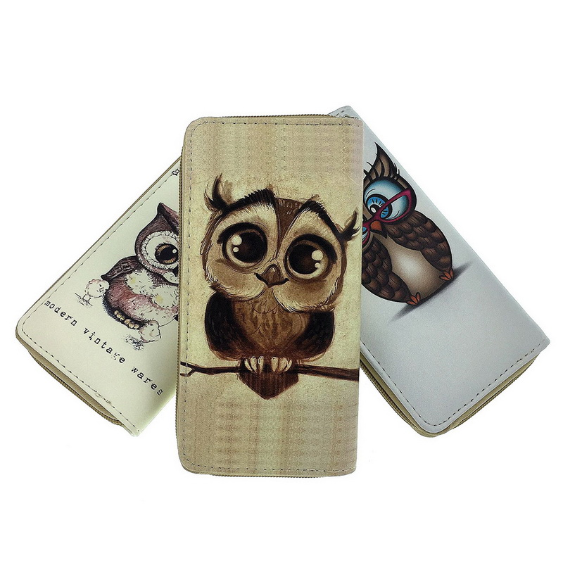 NIBESSER Womens Clutch Wallet Case Long Purse Print Cartoon Owl Long Zipper Purse For Girls Phone Bag Kawaii Card Holder ...