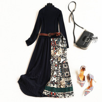 High Quality Designer Women Winter Dress Long Sleeve Fashion Knitting Patchwork Sweater Dress Vintage Print Midi Pleated Dress