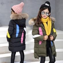 Gulugulumi Winter Warm Jacket For Girls Kids Hooded Snow Wear Cotton-padded Down Jacket Girl Casual Winter Outerwear Long Coats