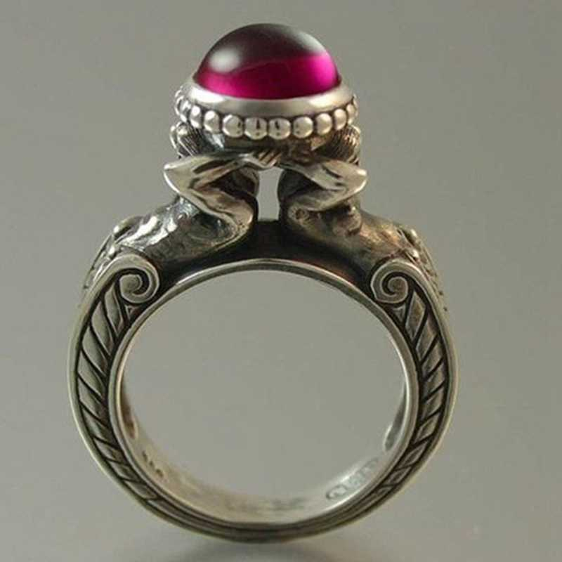 Duas Sereias Red Stone Anéis Zircon Euramerican Criativo Retro Vintage Jóias Anéis Partido Banquete das Mulheres