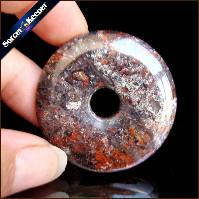 Forma redonda Donut Jaspers Natural Rainforest Pedra Moda Jóias Ágatas RS798 Ping Fivela Pingente de Colar Melhor Amigo Presente