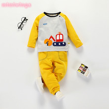 Children's clothing autumn section 17 new baby suit set cotton cartoon children's long-sleeved